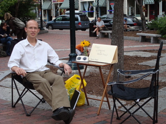 offering free listening and advice in post office park, portland maine
